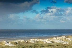 Ausblick auf die Amrumer Dünen und die Nordsee