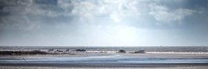 Blick vom Leuchtturm auf die Sandbank von St Peter-Ording
