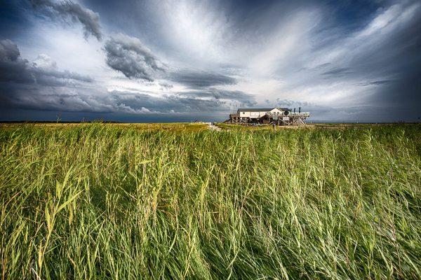 Leinwand Bilder und Kunst Fotografien vom Pfahlbau Strandhütte in St. Peter-Ording - Pfahlbau am Südstrand von SPO