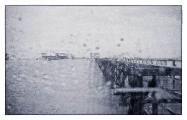 Regentropfen am Fenster - Seebrücke St Peter-Ording