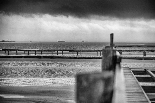 Unwetter über der Sandbank Ording in SW
