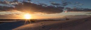 Vogelspuren auf Sanddüne im Sonnenuntergang II